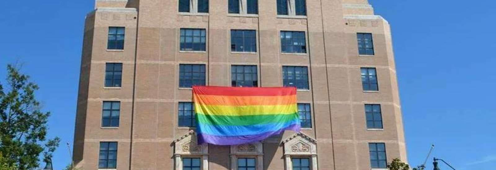 Pride flag on Asheville City Hall