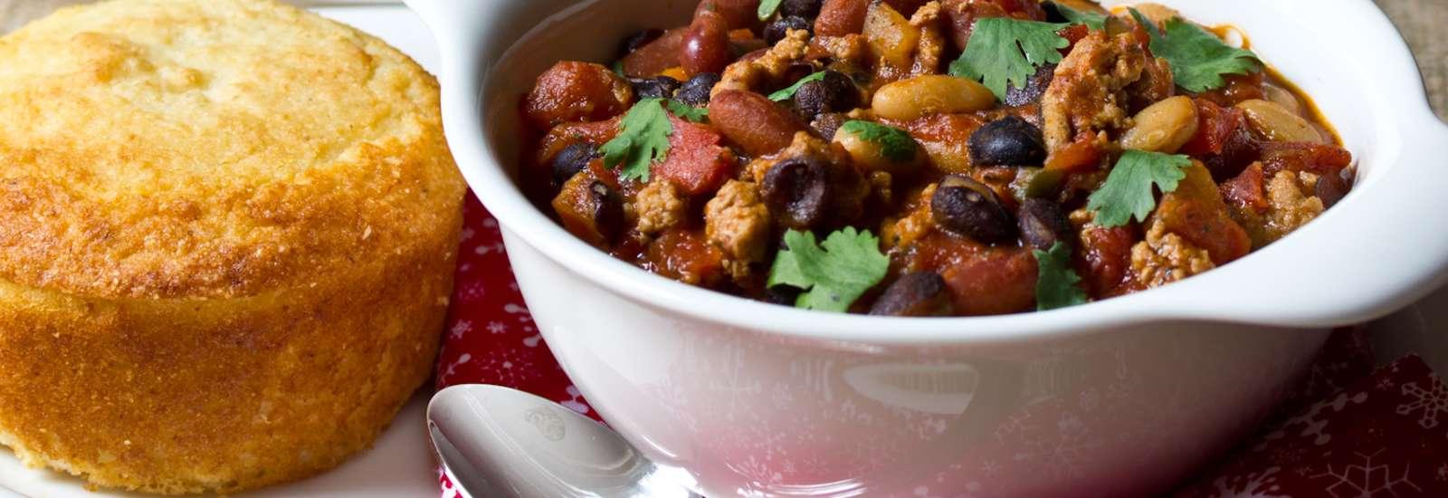 Three Bean Turkey Chipotle Chili #Recipe | ExploreAsheville.com