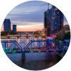 Blue Bridge Lit Up for Pride - Bridge Forefront