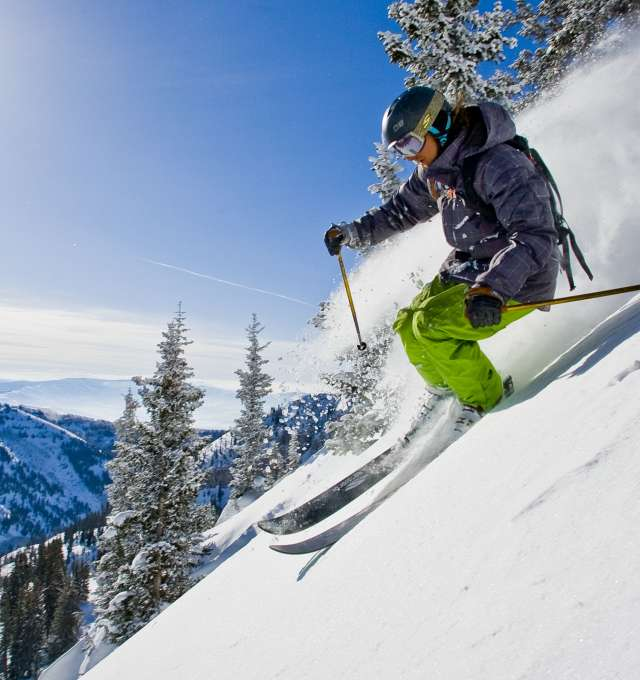 Sage Cattabriga-Alosa skiing powder in the Alta backcountry