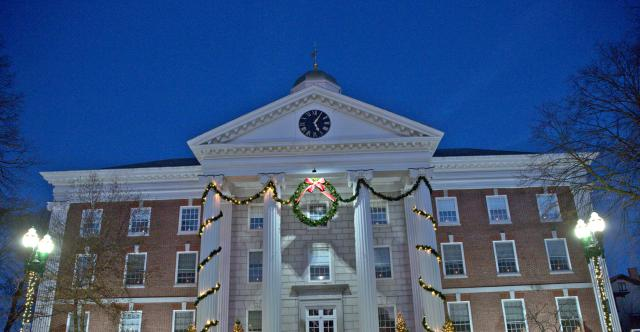 City Hall decorated for Christmas in Auburn NY