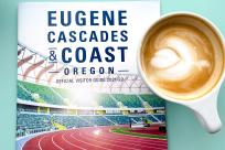 Eugene cover of visitor guide with a latte.