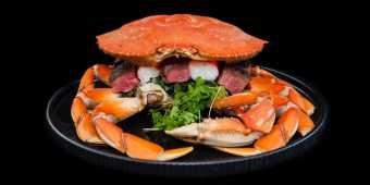 The Level 6ix dish from Ritz-Carlton Toronto serves Dungeness & King crab, , Kobe Beef Tenderloin, Forbidden Black Rice, Summer Truffle and Caviar