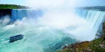 The hornblower cruise seen near the Horseshoe Falls at Niagara Falls