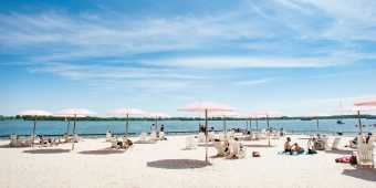 The umbrellas at Sugar Beach in Toronto's waterfront in summer