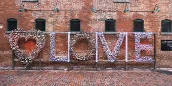 The love locks art installation at the Distillery District