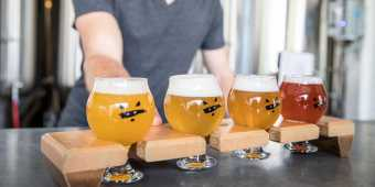 The beer flight craft beer selection at Bandit Brewery, in Toronto's Roncesvalles neighbourhood