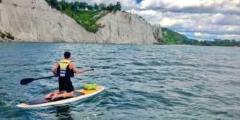 Paddleboarding at the Scarborough Bluffs