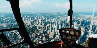 A view of the Toronto skyline as seen from a helicopter