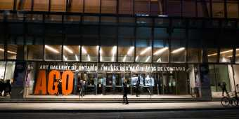 Outside the Art Gallery of Ontario at night