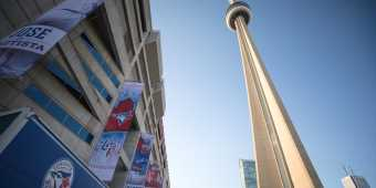 Outside the Rogers Centre, home of the Toronto Blue Jays