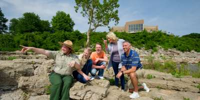 Park Ranger and family at the Falls of the Ohio State Park