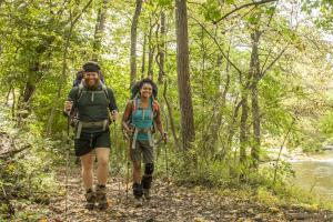 Man and woman backpacking along the Appalachian Trail