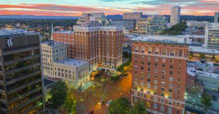 Sunset over Downtown Greenville at the Westin Poinsett Hotel