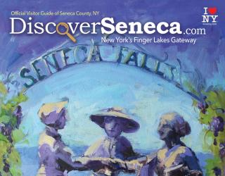 2021 Visitor Guide artwork of the three ladies statue in Seneca Falls