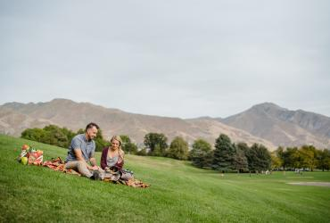 Couple Having Picnic at Sugar House Park