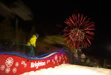 Night skiing at Brighton with fireworks