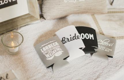 Wedding party drink holders on display
