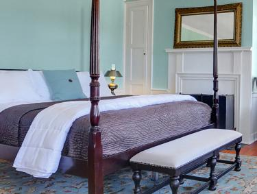 Interior of a guest room at the Allenberry Resort in Boiling Springs, PA