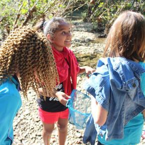 3 girls standing in The Parklands of Floyds Fork