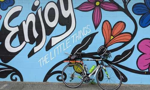 Bike in front of mural
