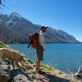 Emerald Lake Hiker with Dog