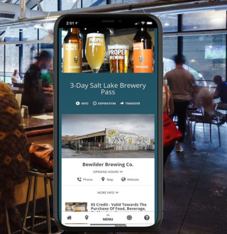 Bar with Phone that has the Brew pass displaying over top
