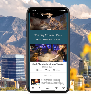 Salt Lake City Skyline with Connect Pass on phone