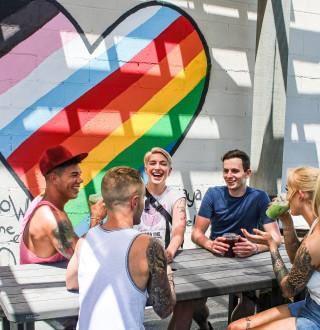 LGBTQ friends grabbing coffee together