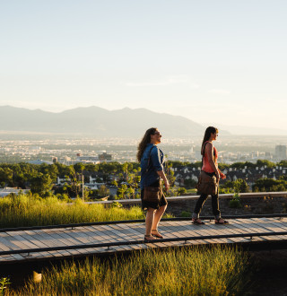 Walking at Red Butte Garden Above City
