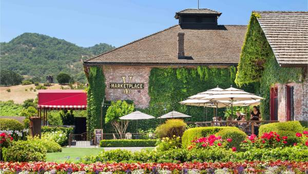 Exterior of V Marketplace in Yountville, Napa Valley