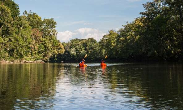 Friends enjoy a day of kayaking along the quiet waters of the Saluda River outside of Columbia, SC.