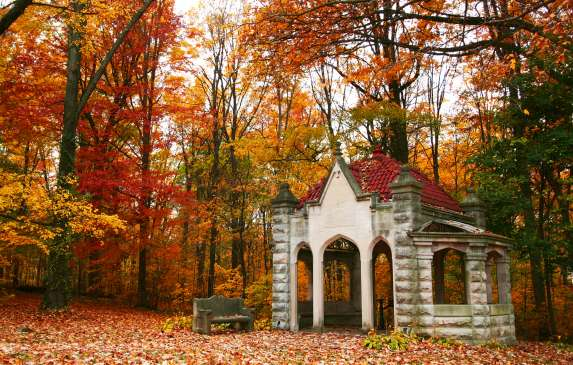 Indiana University Rose Well House with Fall Foliage
