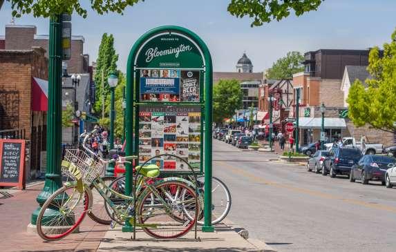 Visit Bloomington kiosk and bikes during spring