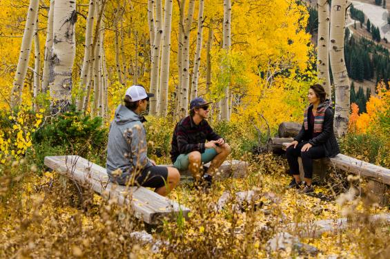 Friends Hiking Little Cottonwood Canyon in the Fall