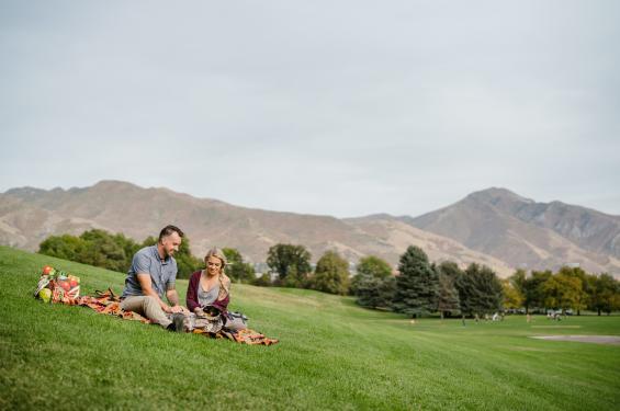 Couple Having Picnic at Sugar House Park