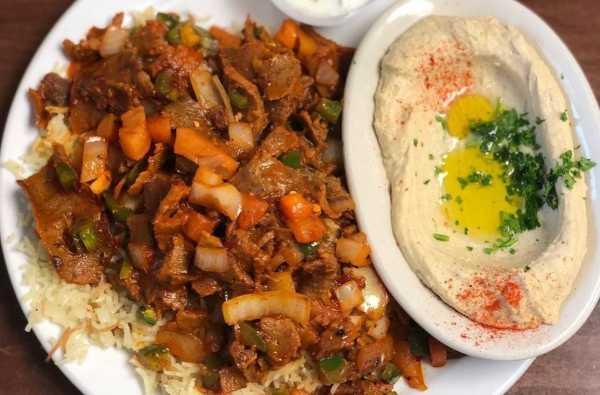 Chicken shawarma and hummus at Prince Lebanese