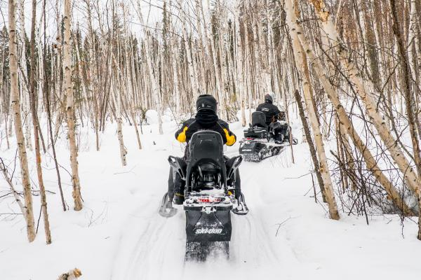 Two people on snowmobiles travel down a wooded path away from the camera