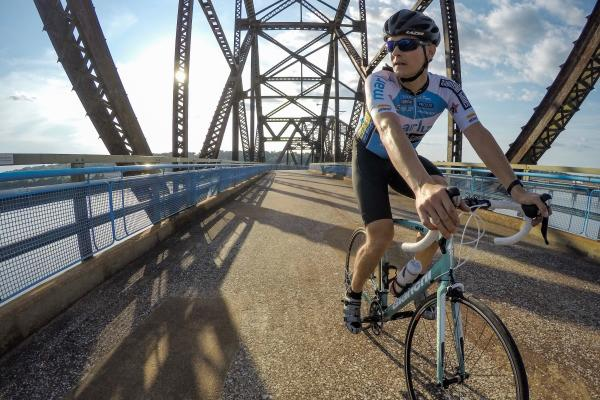 Cyclist on the Chain Of Rocks Bridge