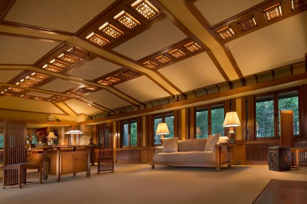 Living Room in Frank Lloyd Wright's Allen House in Wichita During the Evening