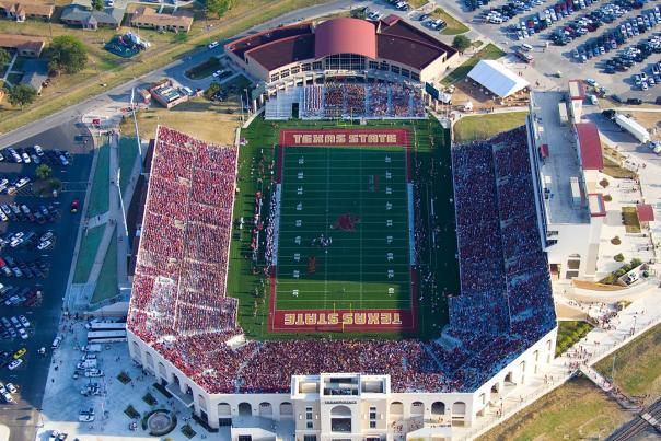 Aerial of crowd at Texas State University Bobcat Stadium