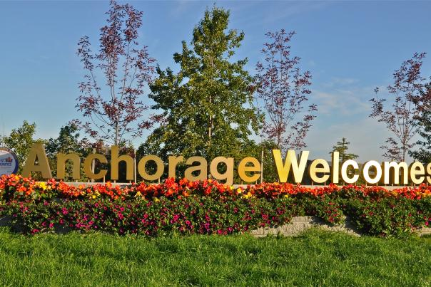 A sign east of downtown welcomes guests to Anchorage
