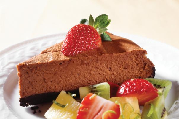 Chocolate mousse pie with fruit