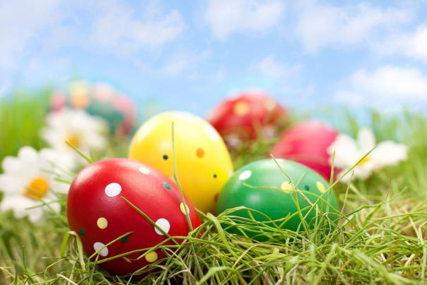 closeup of decorated easter eggs laying in the grass