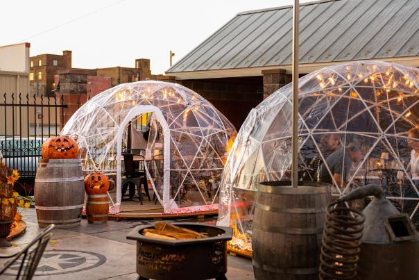 Fall Outdoor Igloos at Three Rivers Distillery