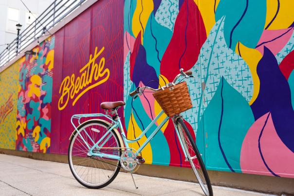 Izzy the Bike at the Breathe Mural in Downtown Fort Wayne