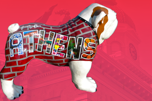 Greetings from Athens bulldawg statue banner