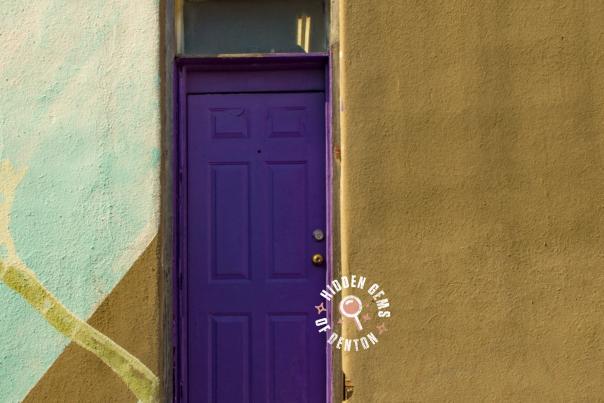 Iconic purple door in Denton, TX