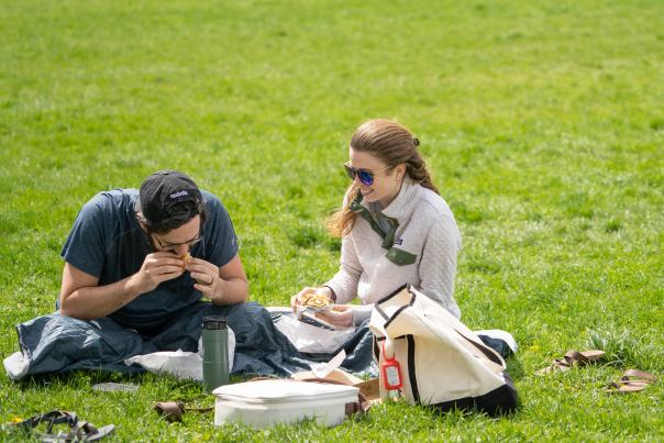A couple has a picnic in the park
