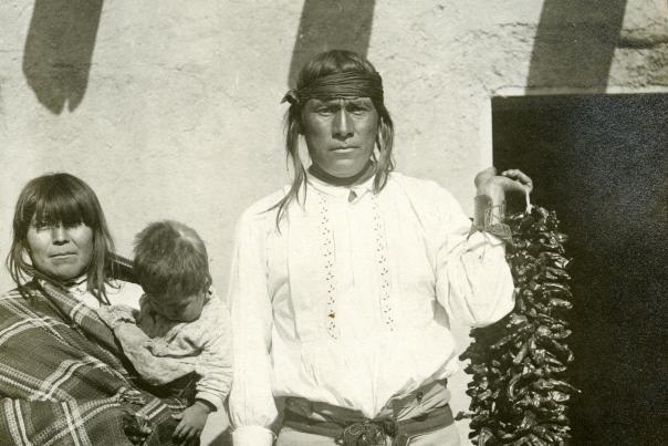 A Jemez Pueblo family with a chile ristra, circa 1905, New Mexico Magazine